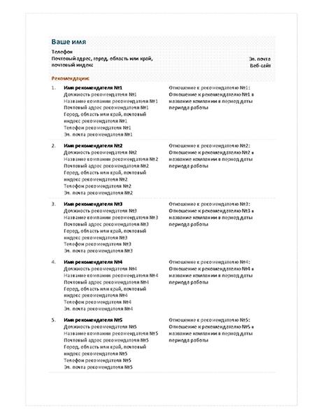 Список рекомендателей для функционального резюме