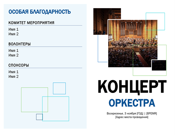 Программа концерта оркестра