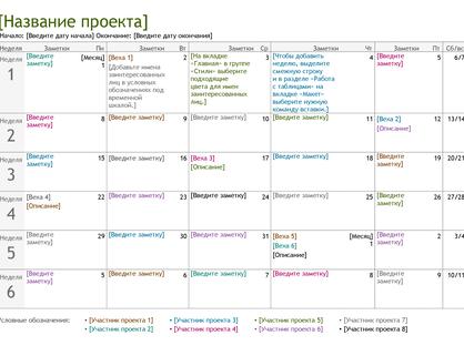Временная шкала планирования проекта