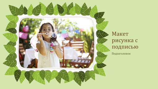 Семейный фотоальбом (природный дизайн с зелеными листьями)