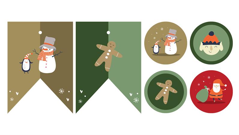 Печатные элементы для рождественской вечеринки