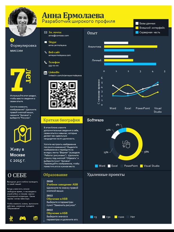 Резюме с технической инфографикой