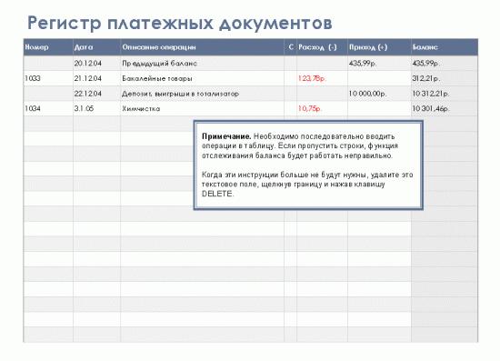 Регистр платежных документов