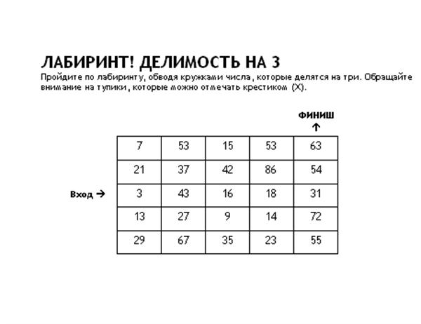 Числовой лабиринт первого уровня, делимость на 3
