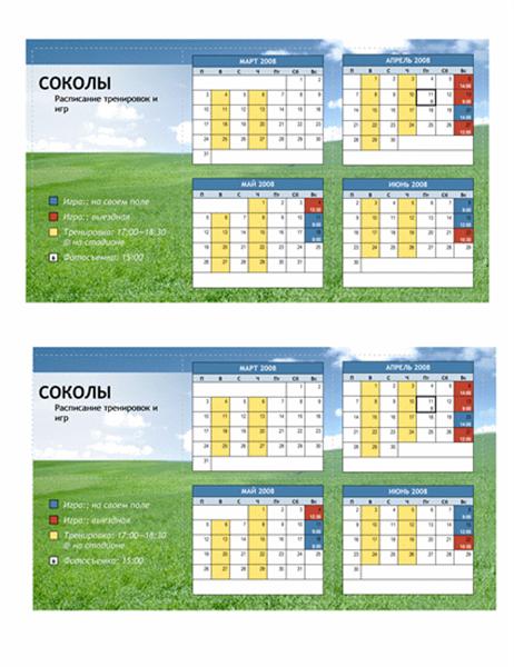 Карманное расписание на 2008 год для юношеских команд (весна)