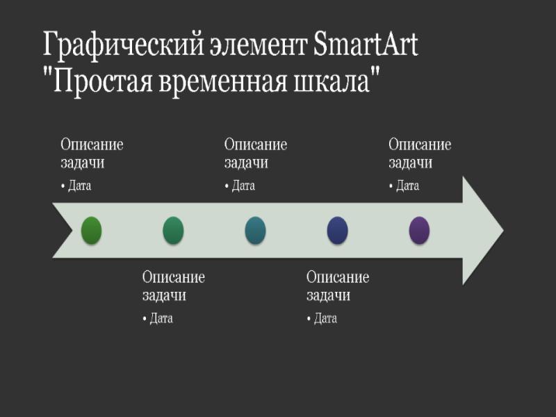 """Графический элемент """"Простая временная шкала"""" (белое на темно-сером, широкоэкранный формат)"""