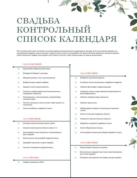 Контрольный список для свадьбы