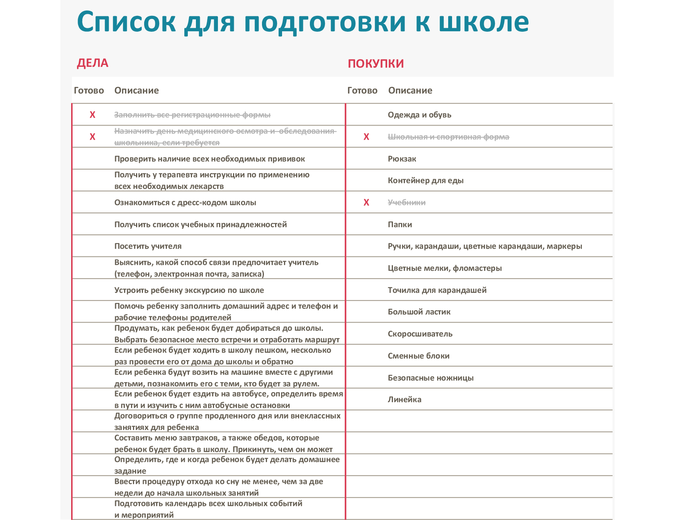 Список подготовки к школе