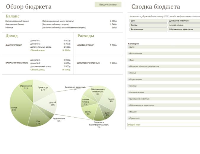Семейный бюджет с диаграммами