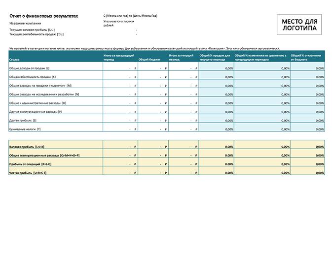 Отчет о финансовых результатах (с логотипом)