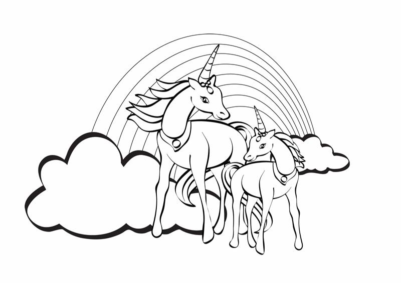 Лист для раскраски (рисунок с единорогом)