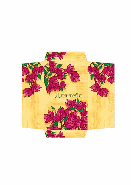 """Конверт для денег (оформление """"Розовые цветы"""")"""