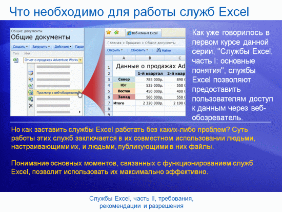 """Учебная презентация: SharePoint Server 2007, службы Excel, часть II, """"Требования, рекомендации и разрешения"""""""