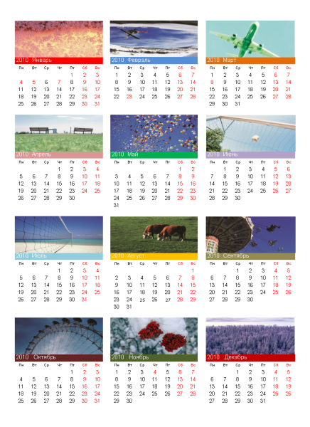 Календарь на 2010 год с фотографиями (1 стр., 3х4)