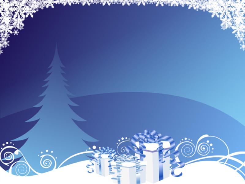 Шаблон оформления с елкой, подарками и снежинками
