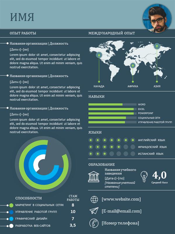 Международное резюме с инфографикой
