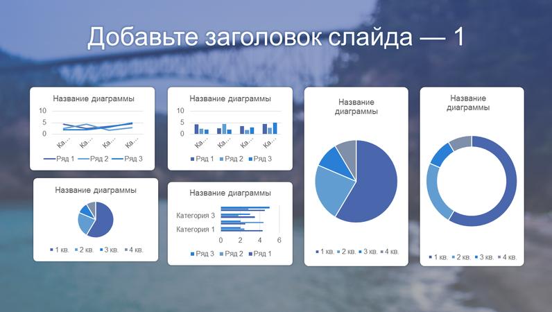 Синяя панель мониторинга с шестью диаграммами