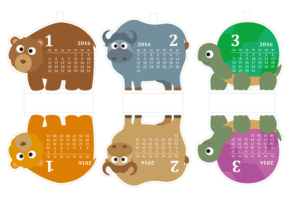 Месячный календарь на 2016 год в виде смешных зверей (для детей)