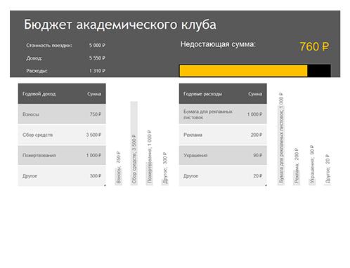 Бюджет университетского клуба