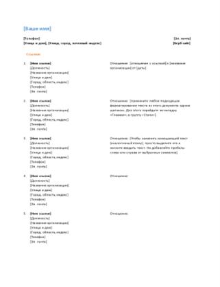 Список рекомендаций для резюме (функциональный дизайн)