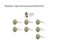 Организационная диаграмма с круглыми рисунками (широкоэкранный формат)