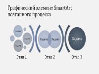 Графический элемент SmartArt поэтапного процесса (светло- и темно-синие цвета, широкоэкранный формат)