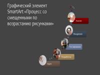 Графический элемент SmartArt «Процесс со смещенными по возрастанию рисунками» (цветное на сером, широкоэкранный формат)
