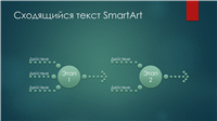 Диаграмма процесса (сходящийся текст, широкоэкранный макет с зелеными пузырями)