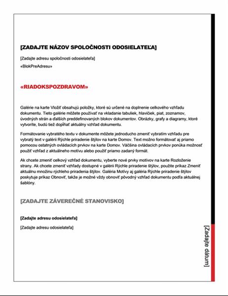 List hromadnej korešpondencie (základný štýl)