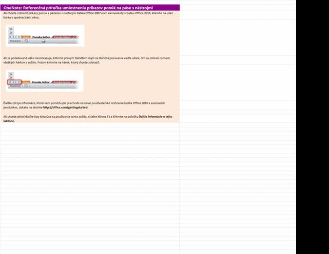 Zmena ponúk programu OneNote 2010 na pás s nástrojmi – referenčný pracovný zošit