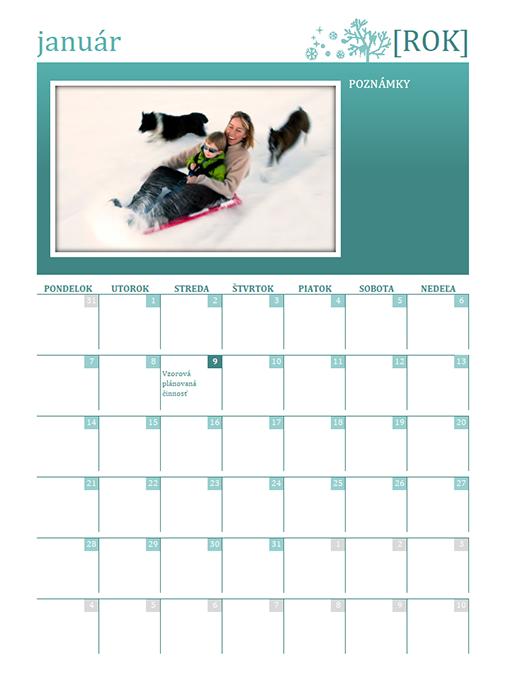 Rodinný kalendár, ročné obdobia (akýkoľvek rok, pondelok až sobota)