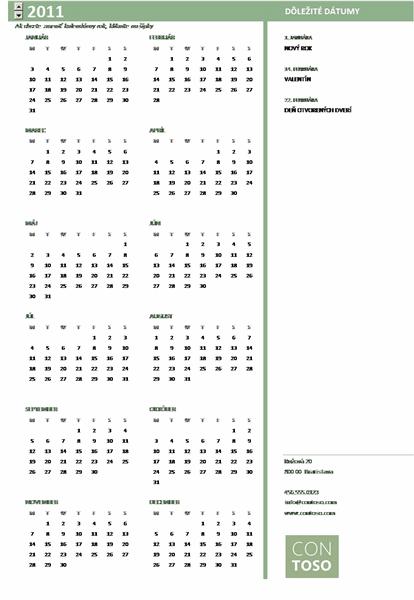 Kalendár pre malé podniky (ľubovoľný rok, pondelok až nedeľa)