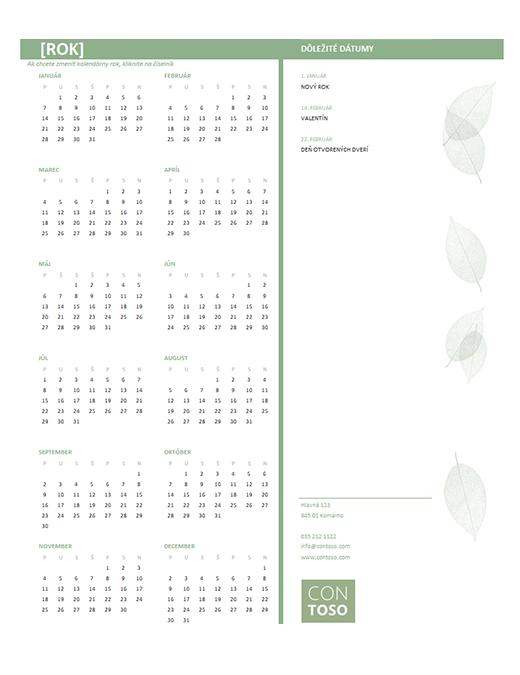 Malý obchodný kalendár (ľubovoľný rok, po – ne)