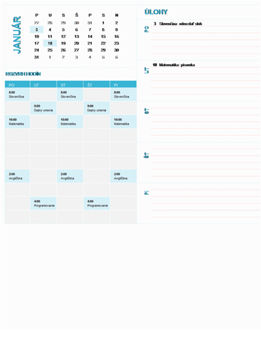 Študentský týždenný plánovací kalendár (ľubovoľný rok, pondelok až nedeľa)