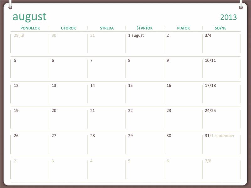 Kalendár na školský rok 2013/2014 (začína od augusta)