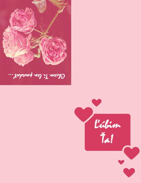 Romantická pohľadnica (zložená na štvrtiny)
