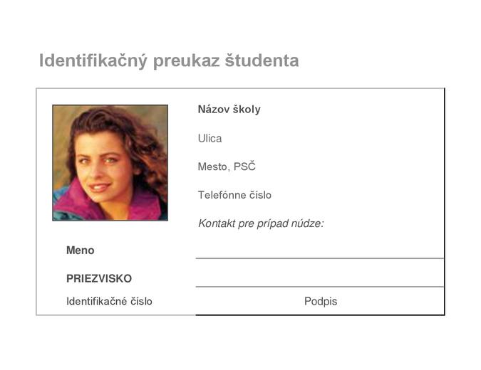 Identifikačný preukaz študenta