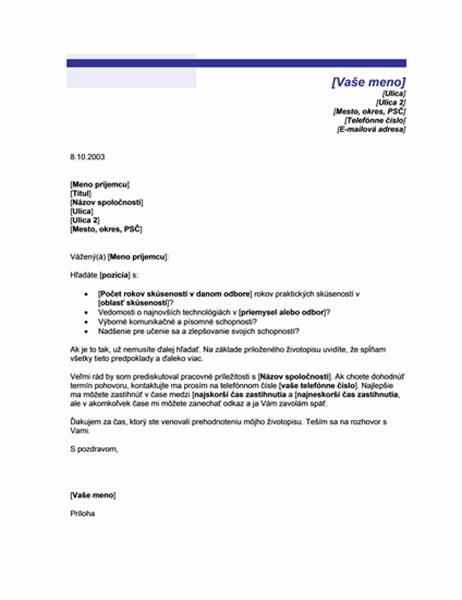 Sprievodný list pre nevyžiadaný životopis (Motív Modrá čiara)