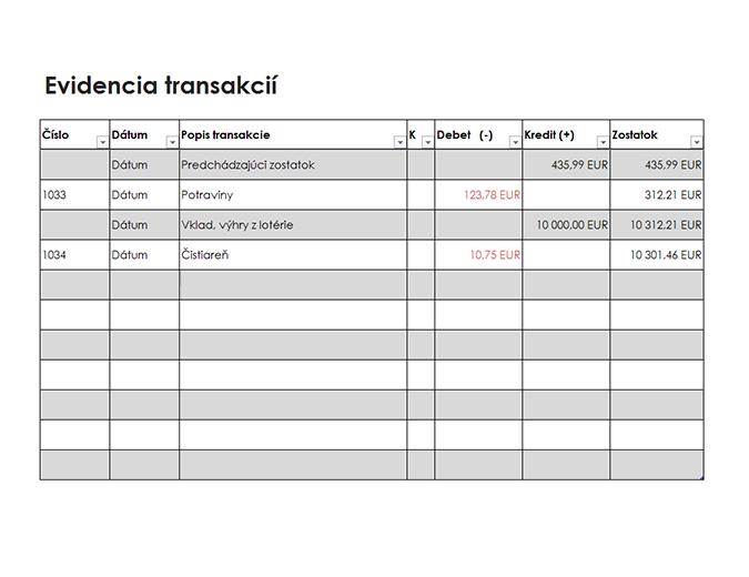 Evidencia transakcií (jednoduchá)