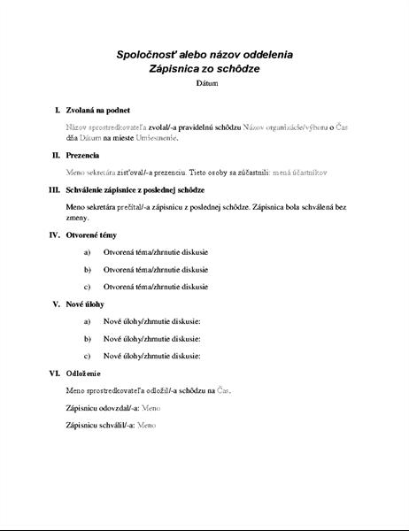 Formálny zápis zo schôdze