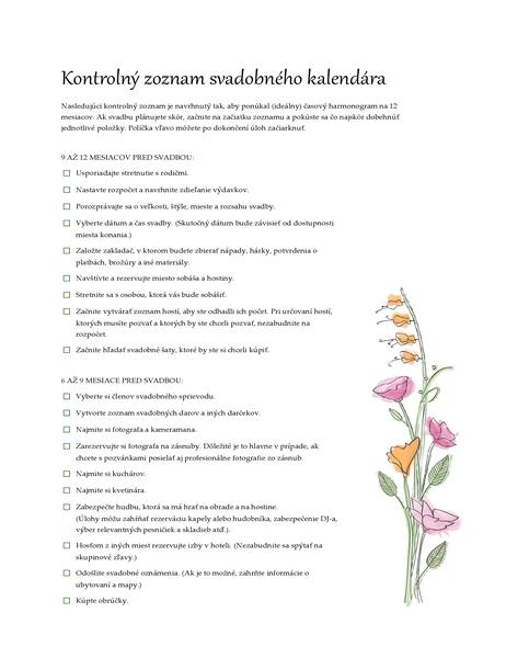 Svadobný kontrolný zoznam (akvarel)