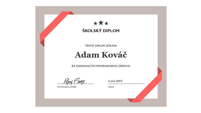 Školský diplom (formálne modré orámovanie)