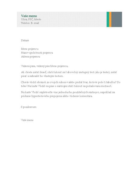 Obchodný list (obchodný návrh spruhmi)