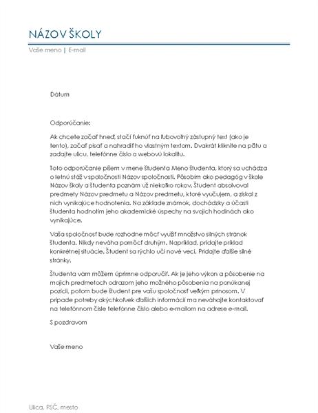 Odporúčací list od vyučujúceho