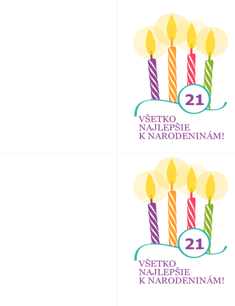Pohľadnice kprelomovým narodeninám (2 na stranu, pre hárky Avery 8315)