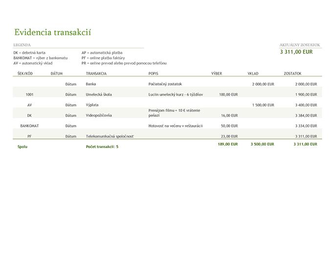 Evidencia transakcií s kódmi transakcií