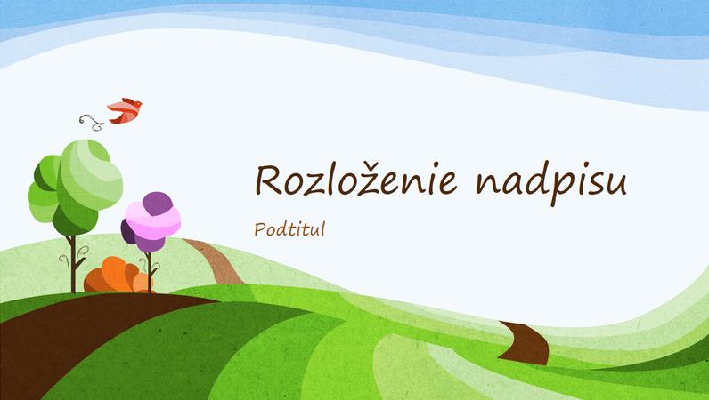 Prírodná prezentácia s ilustrovaným dizajnom prírodnej scenérie (širokouhlý formát)