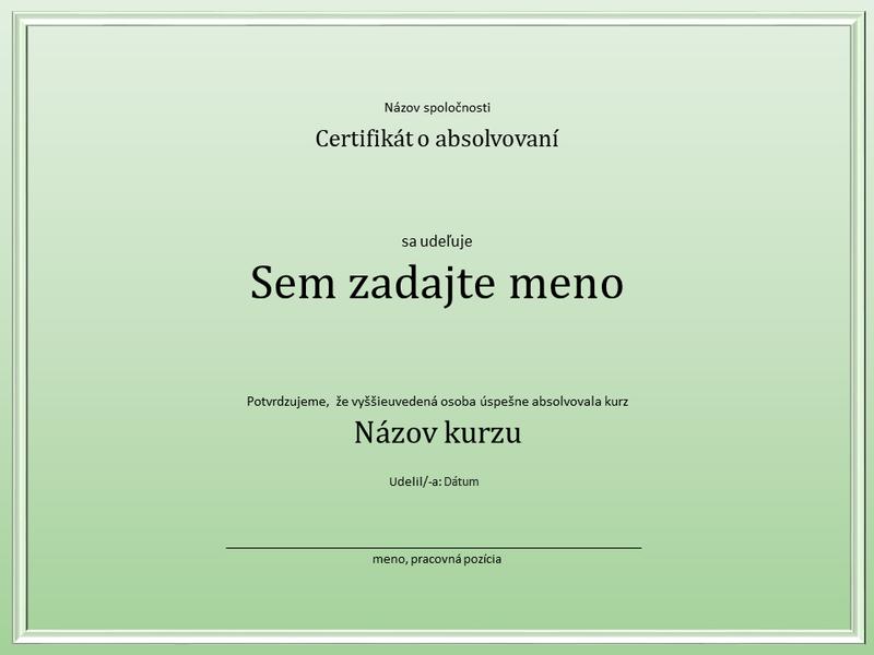Certifikát oabsolvovaní kurzu