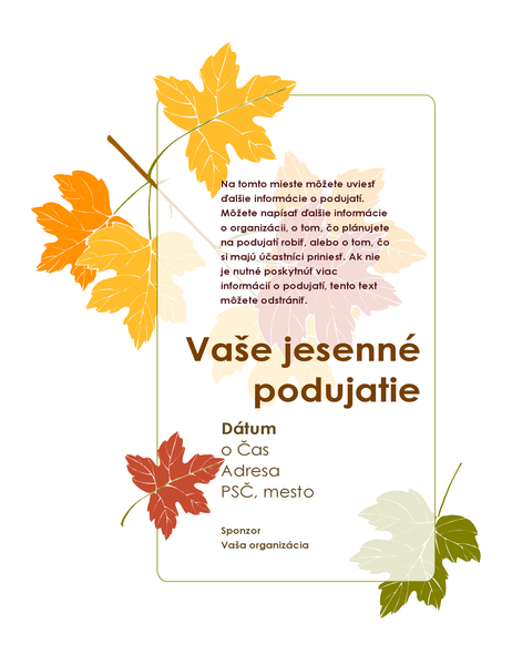 Leták pre jesennú udalosť (s listami)