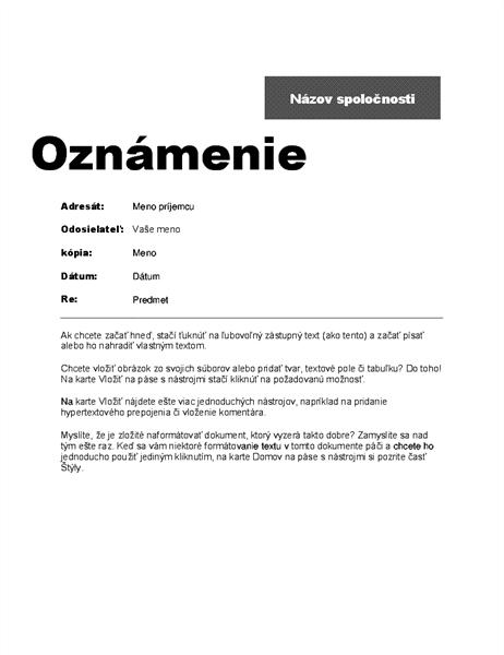 Oznam medzi jednotlivými oddeleniami (profesionálny návrh)